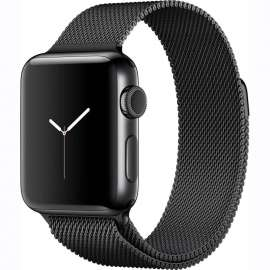 Apple Watch Series 2 38mm Space Black case with Space Black Milanese Loop MNPE2