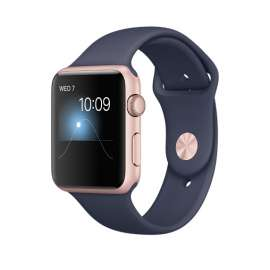 Apple Watch Series 1 Rose Gold Aluminum case 42mm with Midnight Blue Sport Band MNNM2
