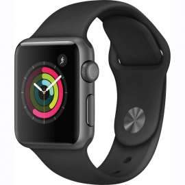 Apple Watch Series 1 38mm Space Gray Case with Black Sport Band MP022