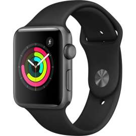 Часы Apple Watch Series 3 42mm Space Gray Aluminum Case with Black Sport Band MQL12