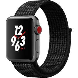 Часы Apple Watch Series 3 Cellular 38mm Space Gray Aluminum Case with Black/Pure Platinum Nike Sport Loop MQL82